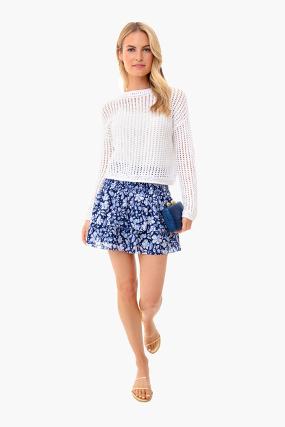 deep bay hibiscus floral smocked skirt