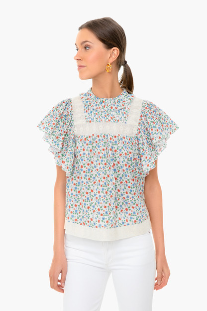 Multi Bubbie Ditsy Short Sleeve Top This item is excluded from BESTFRIEND.