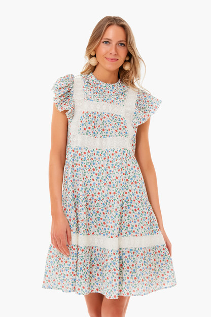 multi bubbie ditsy short sleeve tiered tunic
