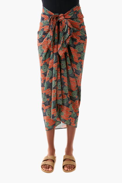 forest cloud floral printed paz coverup