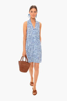 hydrangea sleeveless royal shirt dress