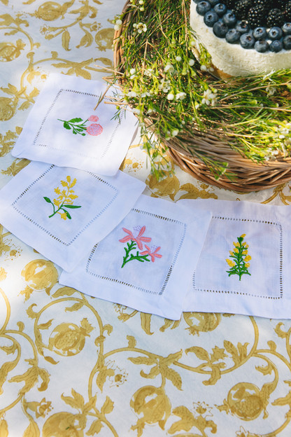 Floral Cocktail Napkins (Set of 4)