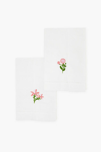 pink embroidered floral guest towels (set of 2)