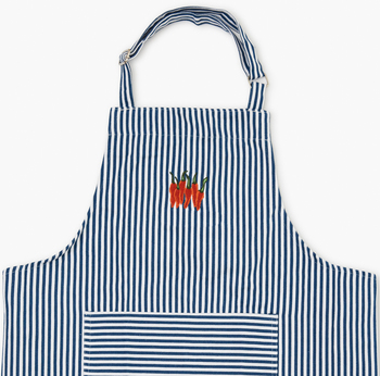 embroidered peppers striped apron