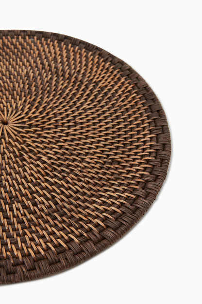 brown woven rattan placemat