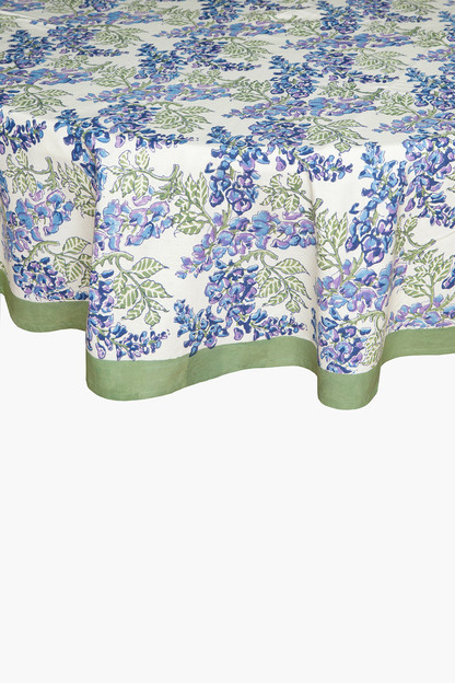 wisteria green and blue french tablecloth
