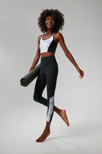 Black and Hazy Marble High Rise Compression Legging