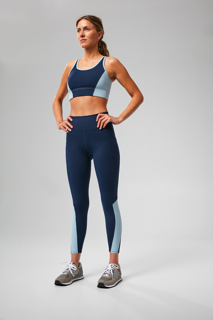 navy and breezy blue high rise compression legging