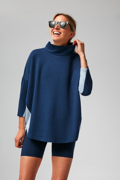 navy and breezy blue funnel pullover
