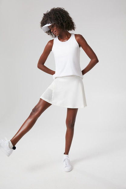 white and fresh buds perforated skirt