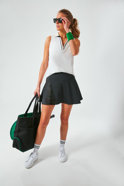 black and fresh buds perforated skirt