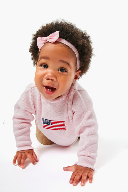 pink american flag roll neck sweater