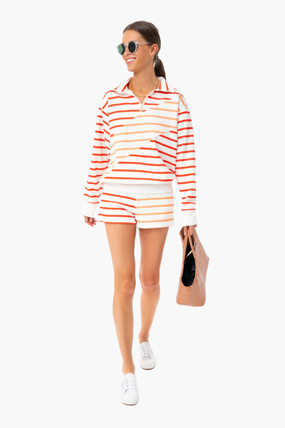 cantaloupe striped french terry pullover