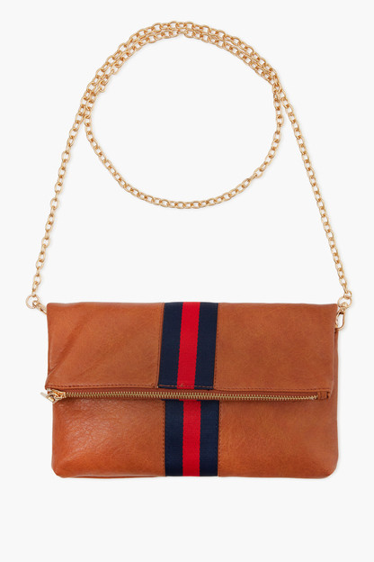 tan jules striped foldover clutch
