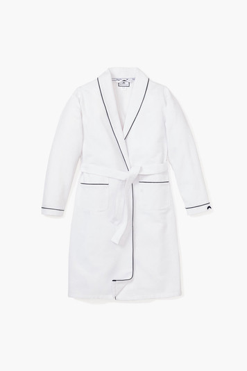 men's white flannel robe with navy piping