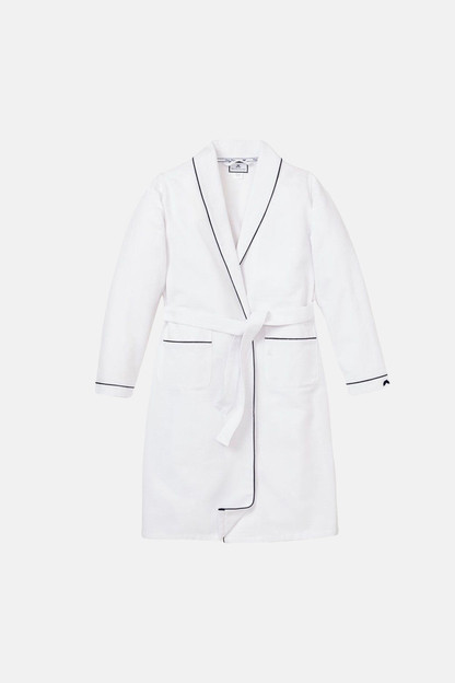 kid's white flannel robe with navy piping