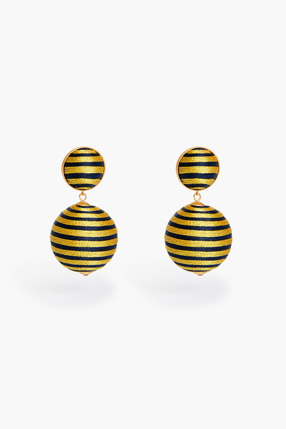 navy and gold lantern earring