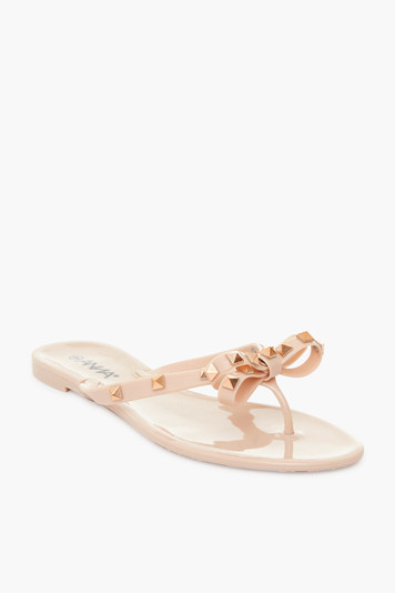nude jelly bowtie sandals