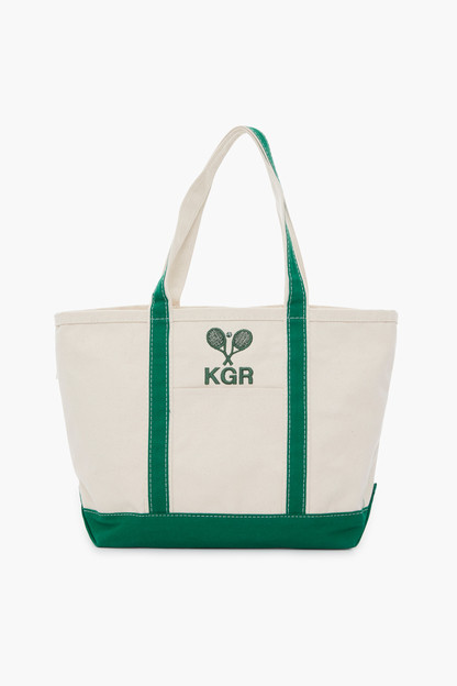 green embroidered tennis racket boat tote