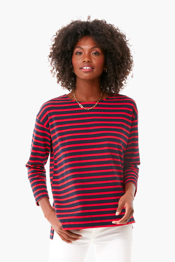red and navy stripe becs tee