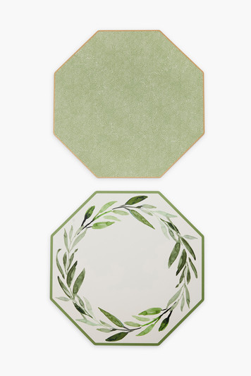 reversible watercolor leaves and dot fan placemats set of 2