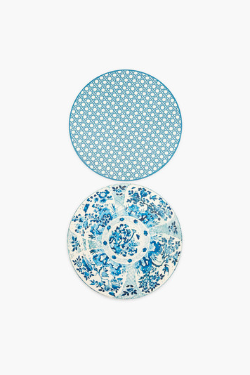 reversible canton plate and cadet blue cane placemats set of 2