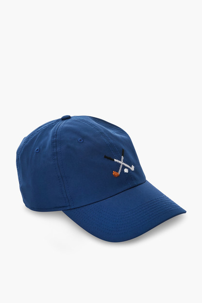 navy crossed clubs performace needlepoint hat