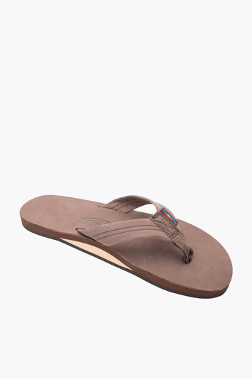expresso premium leather single layer arch support sandal