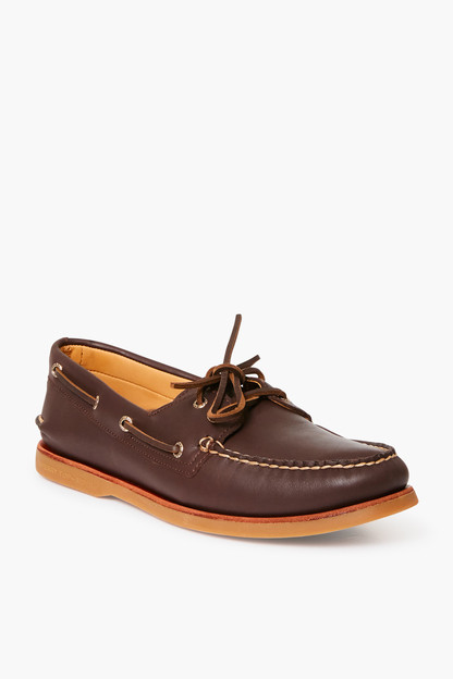 brown gold cup edition original two eye glove leather boat shoe