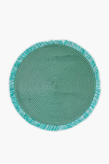 monstera green round fringed placemat