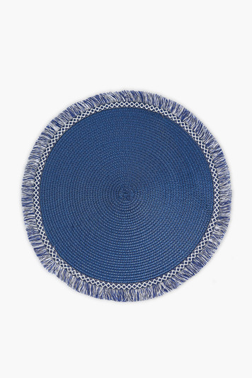 midnight blue round fringed placemat