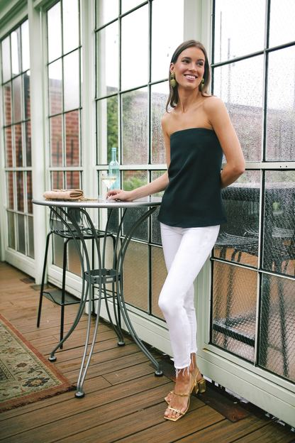 strapless navy crepe marin top