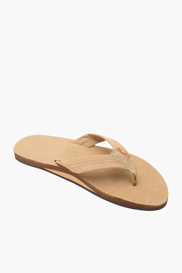 sierra brown premium leather single layer arch support sandal