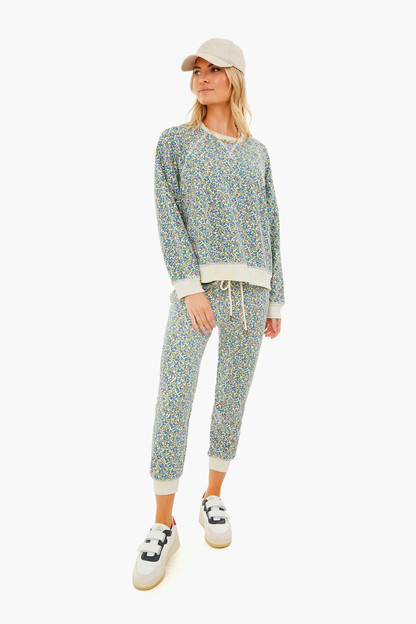 cream field floral cropped sweatpant