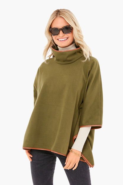 olive green leather trim funnel neck piper poncho