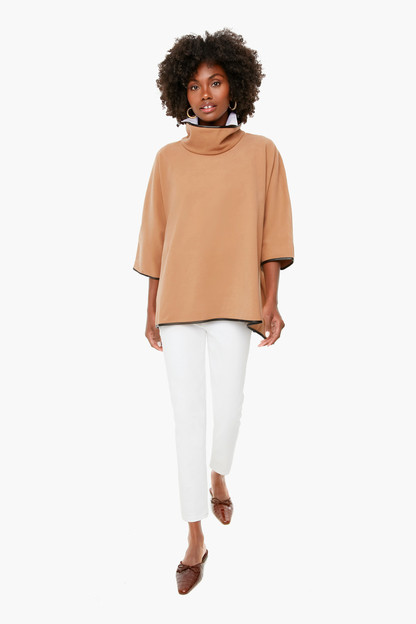 camel leather trim funnel neck piper poncho