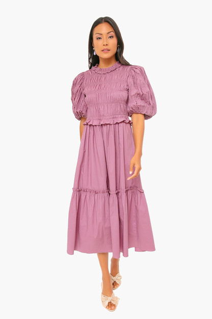 orchid rene cotton puff sleeve smocked dress