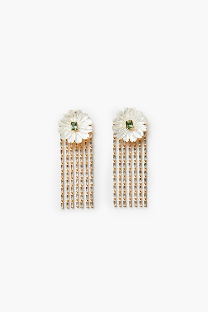 mother of pearl and embellished crystal drops