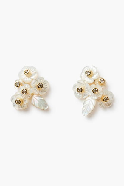 mother of pearl flower and leaf cluster stud earrings