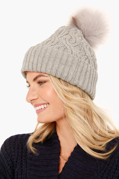 silver recycled pom hat