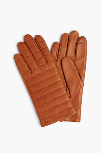 saddle brown quilted leather touch gloves