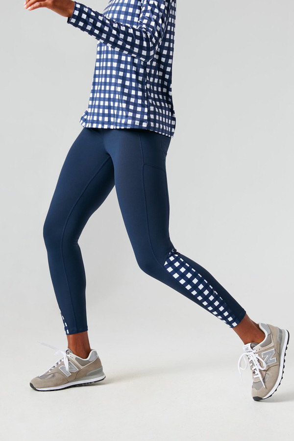 navy and trellis high rise compression legging