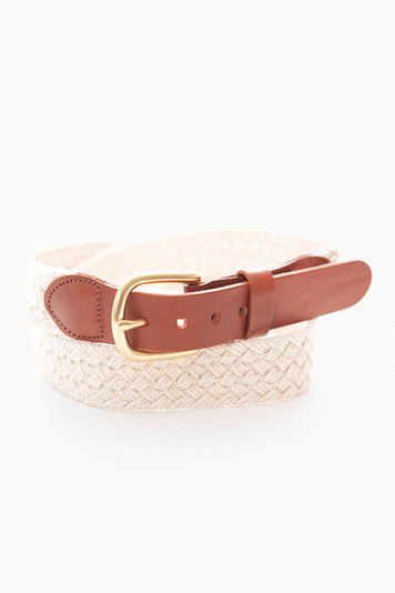 natural macrame tab & buckle belt