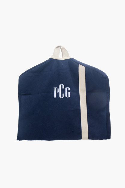navy monogrammed canvas garment bag