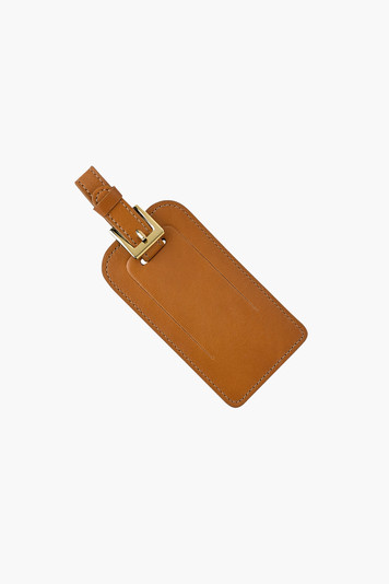 tan traditional leather luggage tag