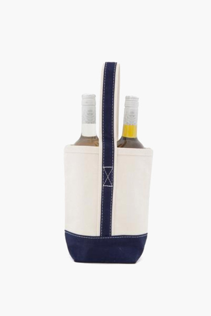 blank navy canvas wine tote