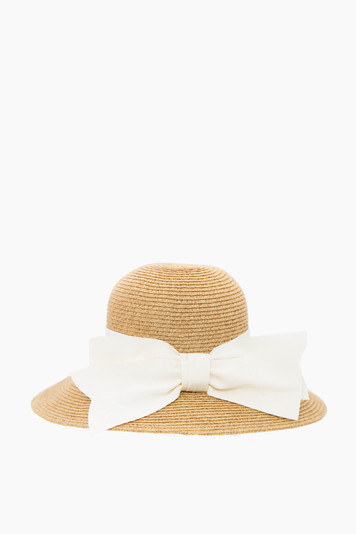 cream packable wide bow sunhat